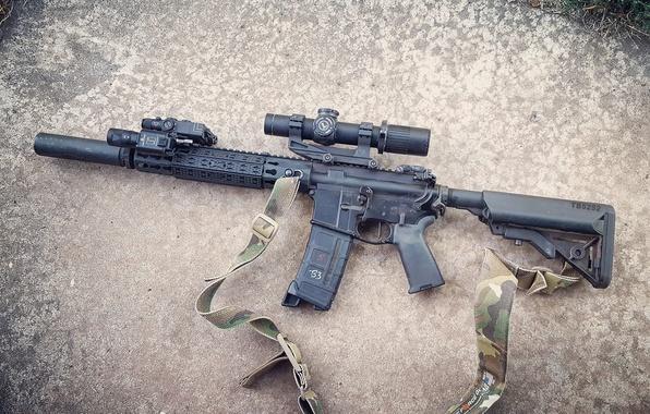 Picture weapons, optics, strap, muffler, assault rifle