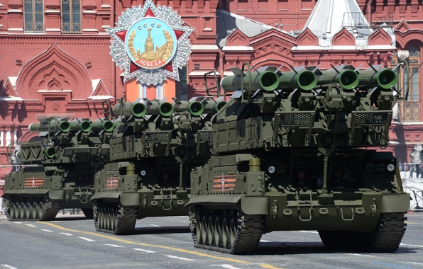 Picture installation, red square, self-propelled, complex, anti-aircraft missile, Buk-M1-2