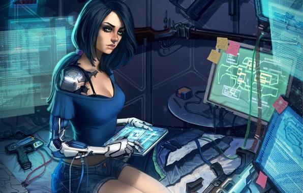 Picture look, girl, fiction, technology, art, cyborg, sci-fi, monitors