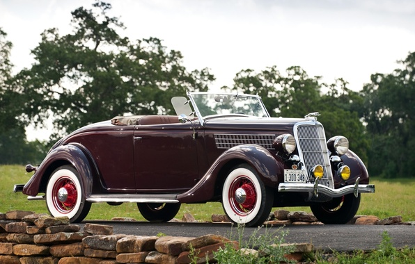 Picture road, the sky, trees, retro, Roadster, Ford, Ford, the front, beautiful car, 1935, Roadster, Deluxe, …