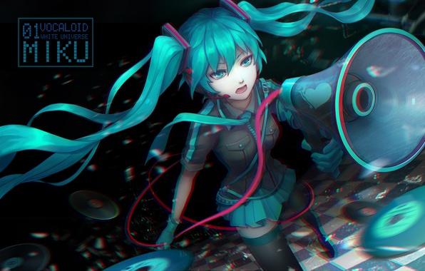 Picture girl, anime, headphones, art, microphone, vocaloid, hatsune miku, loudspeaker, koi wa sensou