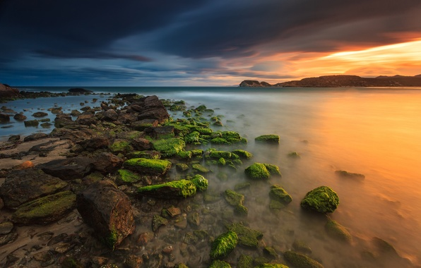 Picture sea, the sky, clouds, stones, the evening, Spain, Murcia
