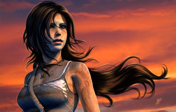 Picture the sky, look, sunset, face, hair, the game, Mike, dirt, art, Tomb Raider, Lara Croft