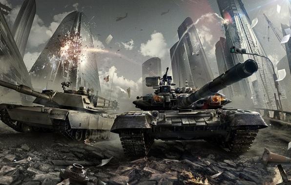 Picture the city, war, home, explosions, skyscrapers, destruction, tank, battle