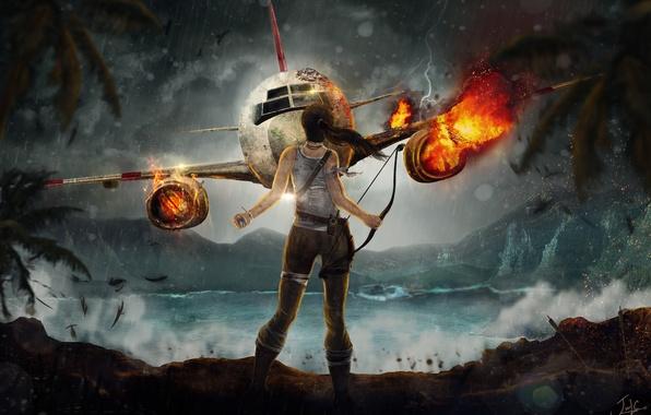 Picture sea, the plane, Tomb Raider, Ryder, Lara, Croft, Tomb raider