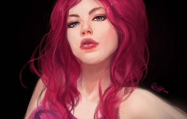 Picture eyes, look, girl, face, blue, art, lips, black background, painting, red hair