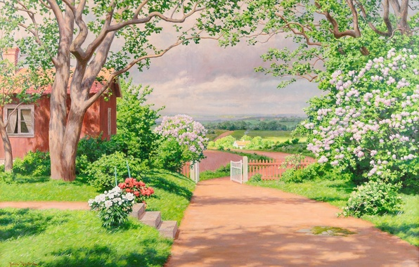 Picture greens, summer, trees, landscape, flowers, the fence, field, picture, garden, village, window, track, house, the …