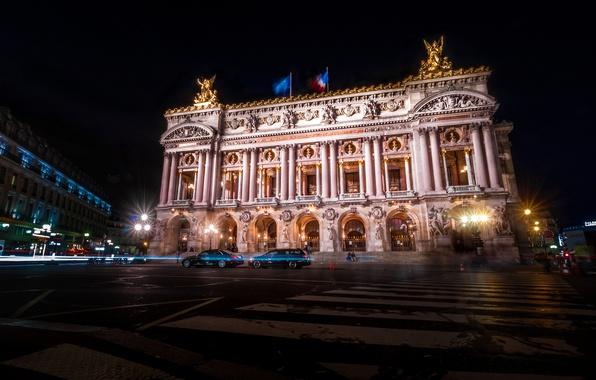 Picture night, lights, France, Paris, theatre, Opera Garnier, Grand Opera