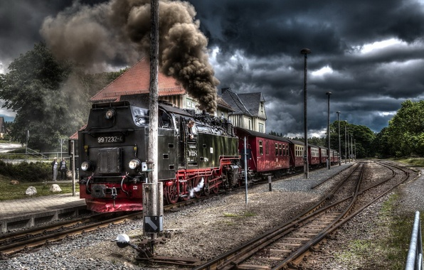 Picture road, train, station