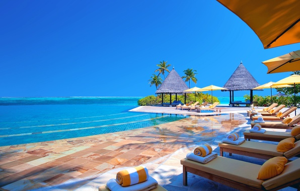 Picture sea, the sky, the ocean, stay, umbrella, pool, pillow, the Maldives, Bungalow, couch