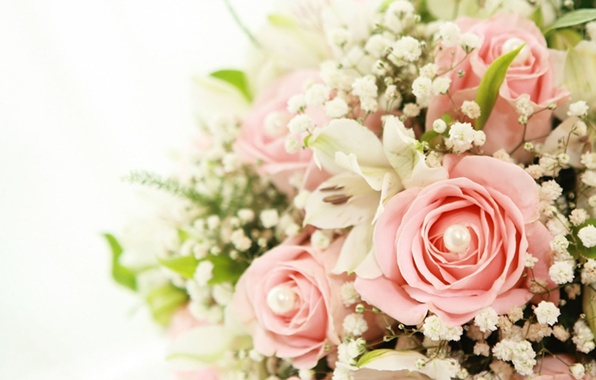 Picture Lily, roses, Flowers, bouquet, beads, pink roses, white lilies