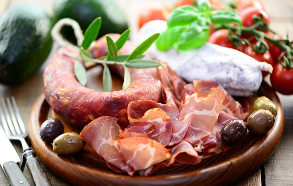 Picture photo, food, vegetables, sausage, ham, meat products