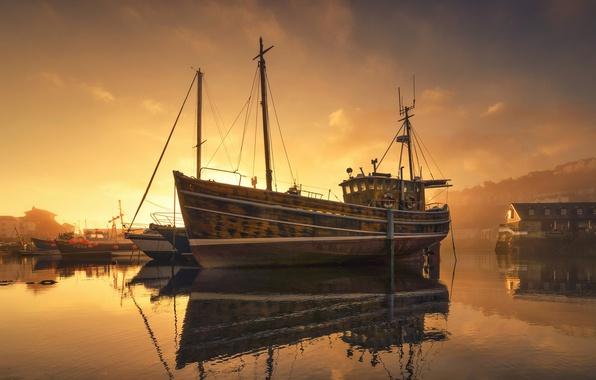 Picture night, fog, ship, Marina