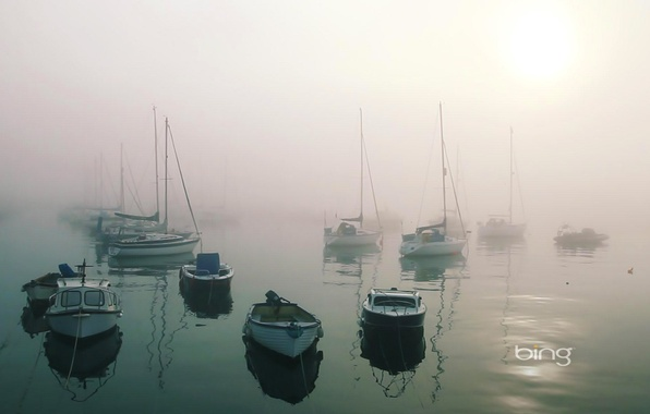 Picture sea, light, fog, Bay, boats, calm, harbour