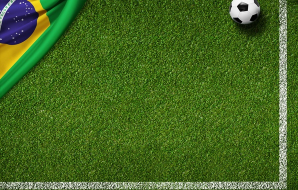 Picture grass, lawn, green, the ball, football, flag, football field, World Cup, Brasil, FIFA, 2014, flag …