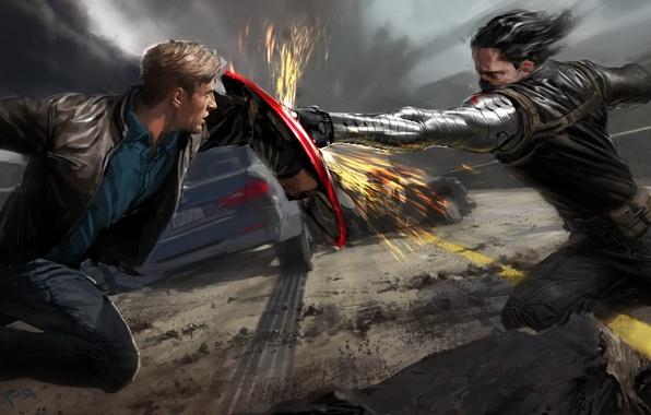 Photo Wallpaper Battle, Art, Sparks, Blow, Battle, Shield, Comic,