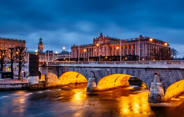 Picture water, trees, bridge, the city, lake, the building, the evening, backlight, Stockholm, Sweden, Parliament, Sverige, …