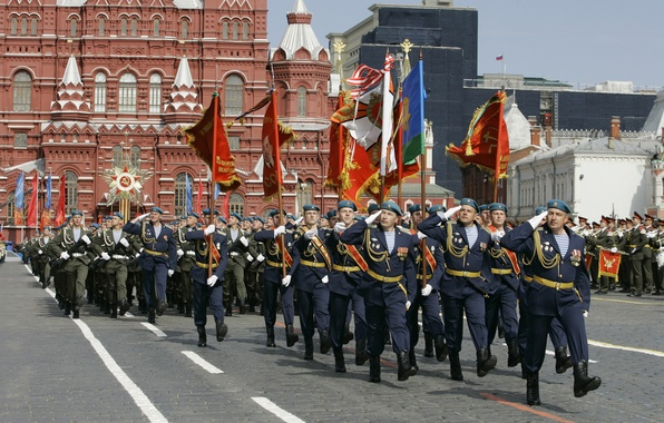 Picture soldiers, Moscow, USSR, flags, Russia, Red square, May 9, military, troops, March, banners, pride, Airborne, …