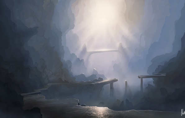 Picture the sun, mountains, bridge, rocks, art, canyon, gorge