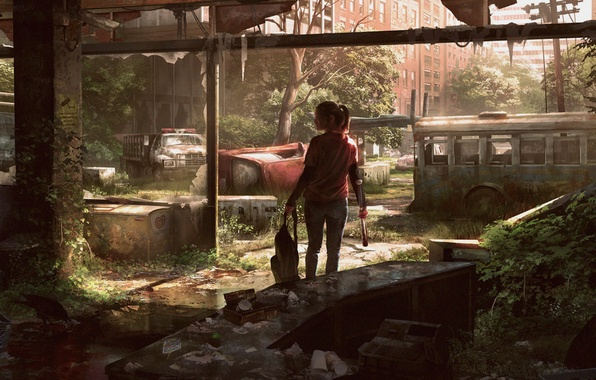 Picture machine, the city, art, girl, bus, Ellie, The Last of Us
