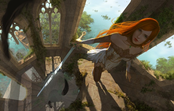 Picture look, girl, nature, weapons, fiction, Windows, tower, sword, art, ladder, red