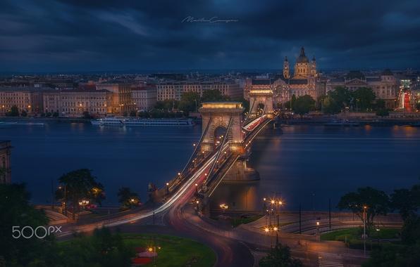 Picture bridge, lights, the evening, Budapest