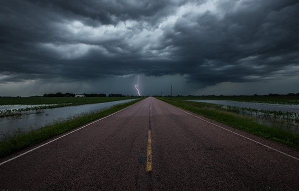 Picture road, the storm, clouds, lightning
