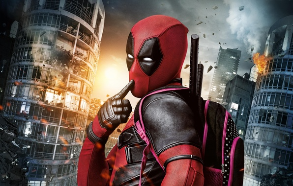Picture City, Light, Action, Ryan Reynolds, Red, Sky, Black, Sun, Warrior, White, Guns, Deadpool, Eyes, Ninja, ...