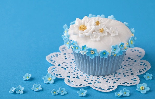 Picture flowers, food, cake, cake, dessert, food, flowers, sweet, sweet, cupcakes, dessert, muffins