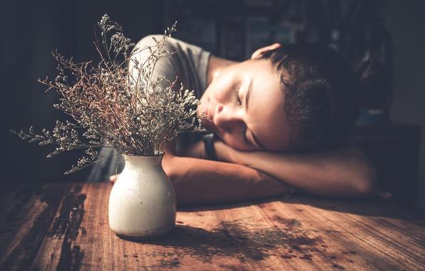 Photo wallpaper girl, flowers, mood