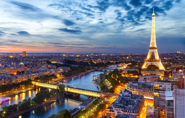 Picture night, lights, France, Paris, panorama, Eiffel tower