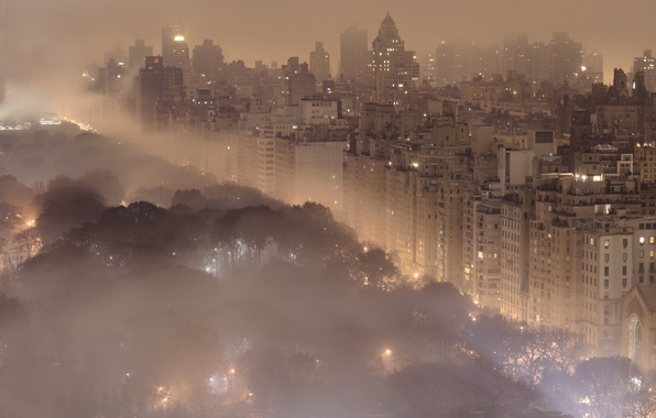 Picture night, the city, lights, fog, city, landscapes, building, New York, New York, central park, Central …