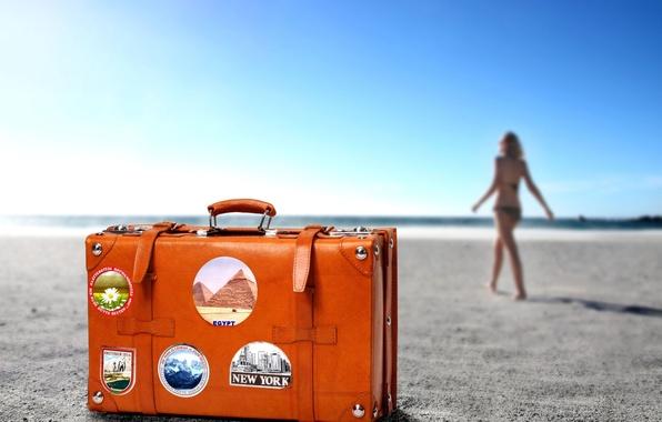 Picture suitcase, journey, BEACH, GIRL, HORIZON, SAND, COLOR, RESORT, ORANGE