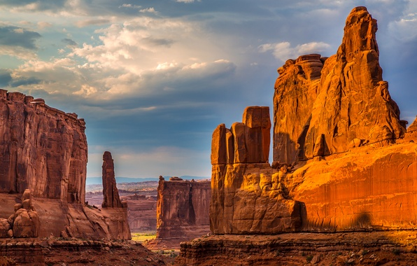 Picture the sky, clouds, stones, rocks, desert, canyon