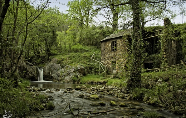 Picture forest, trees, nature, house, river, stones, waterfall, Spain, Spain, Arbon