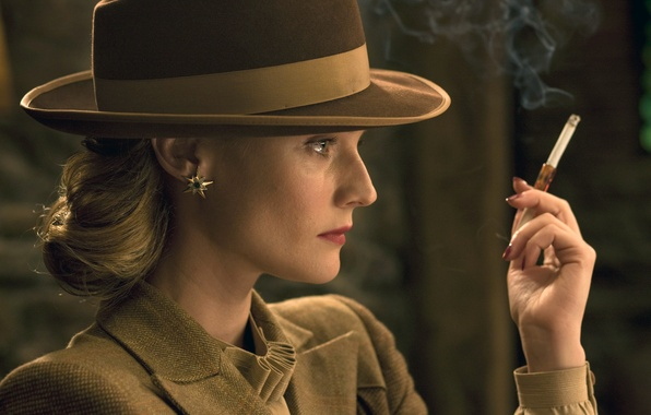 Picture girl, movie, the film, hat, actress, blonde, cigar, Inglourious Basterds, beautiful, earring, smokes, looks, Diane …