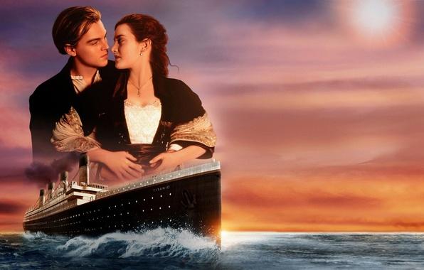 Picture love, sunset, ship, pair, Titanic, love, sunset, Leonardo DiCaprio, Titanic, Rose, ship, Kate Winslet, Kate …
