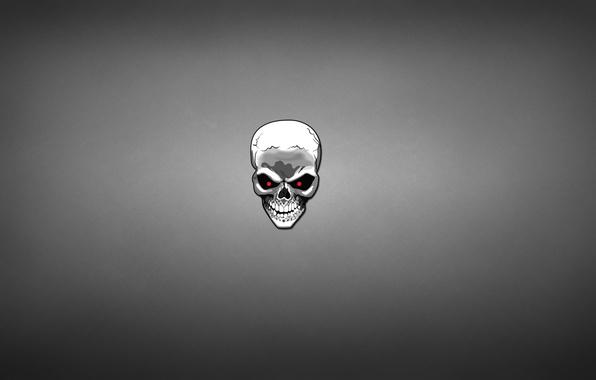 Picture white, skull, skeleton, red eyes, dark background