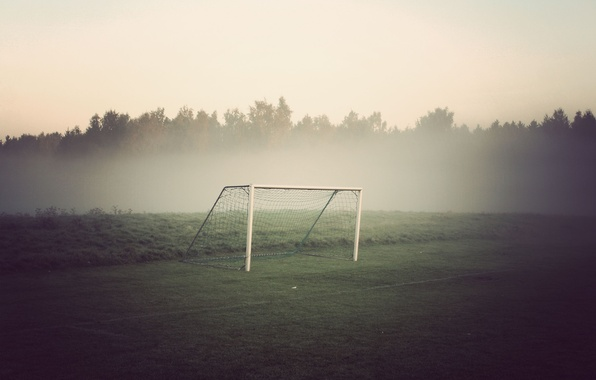 Picture field, forest, fog, football, gate
