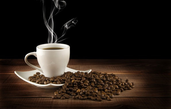 Picture table, coffee, hot, grain, couples, Cup, drink, black background, saucer