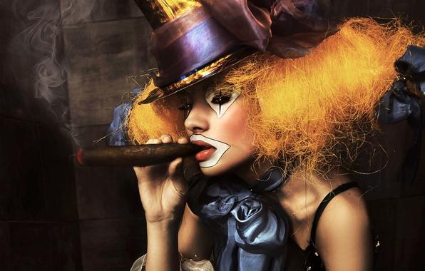 Picture girl, smoke, portrait, hat, clown, cigar, bow, makeup