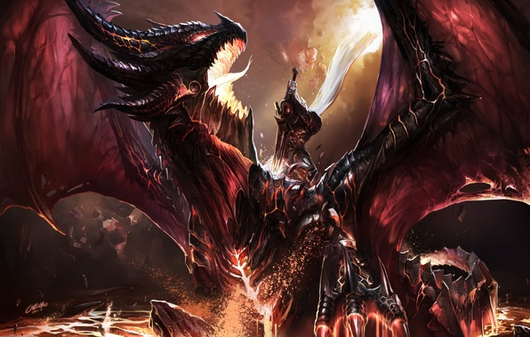 Picture fire, dragon, elf, sword, warrior, WOW, fight, World of warcraft, art, dragon, battle, fanart, fanart, …