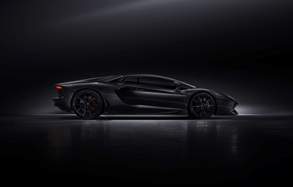 Picture Lamborghini, Dark, Black, Side, LP700-4, Aventador, Supercar, Work