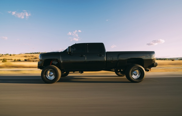 Picture road, field, the sky, clouds, shadow, wheel, rear view, solar, Duramax, LMM, Cevrolet