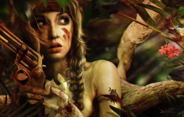 Picture girl, trees, face, weapons, fear, fiction, blood, hair, braids, revolver