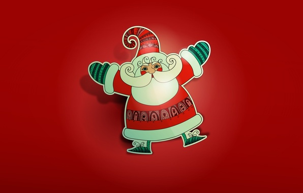 Picture new year, Christmas, new year, Santa Claus, Santa Claus, red background, merry christmas