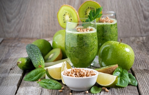 Picture wheat, green, glass, Apple, kiwi, cucumber, lime, parsley, Basil, smoothies