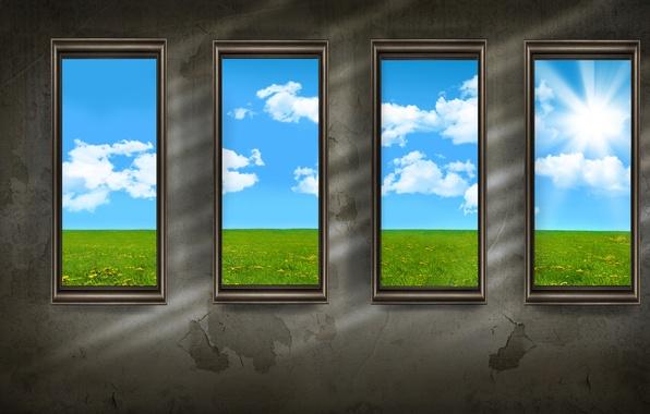 Picture style, wall, wall, Windows, minimalism, windows, walls