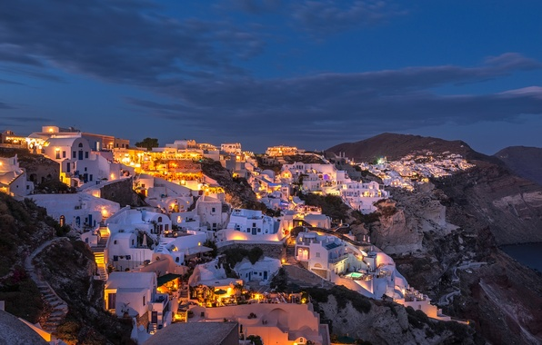 Picture night, lights, island, home, Santorini, Greece