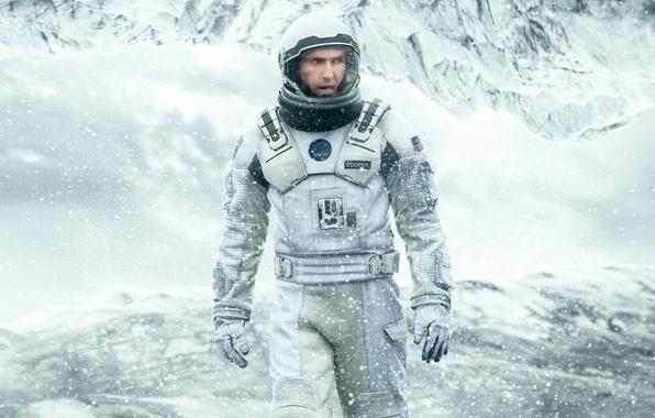 Picture Cooper, cinema, ice, NASA, mountains, snow, man, movie, flag, film, cold, pearls, 2014, astronaut, uniform, …
